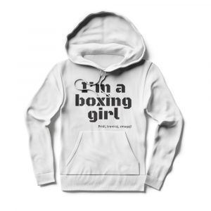 Pulover s kapuco I'm a boxing girl bel