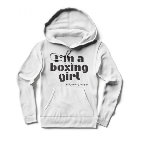 Pulover s kapuco I'm a boxing girl bel