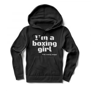 Pulover s kapuco I'm a boxing girl črn