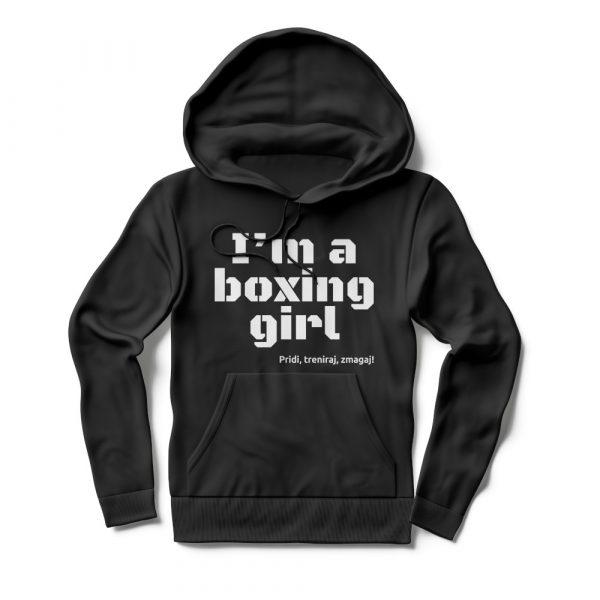 Pulover s kapuco I'm a boxing girl črn